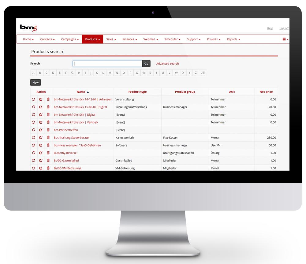 crm product management catalog